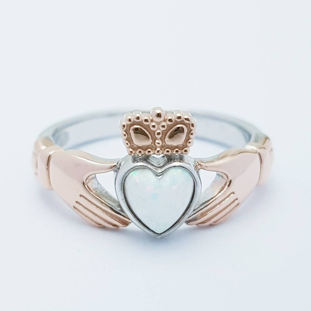 Sterling Silver Rose Gold plated Claddagh ring set with opal stone, October birthstone