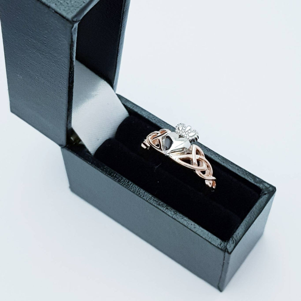 Sterling Silver Claddagh ring, rose gold celtic Knot Claddagh Ring, Irish heart and hands Ring