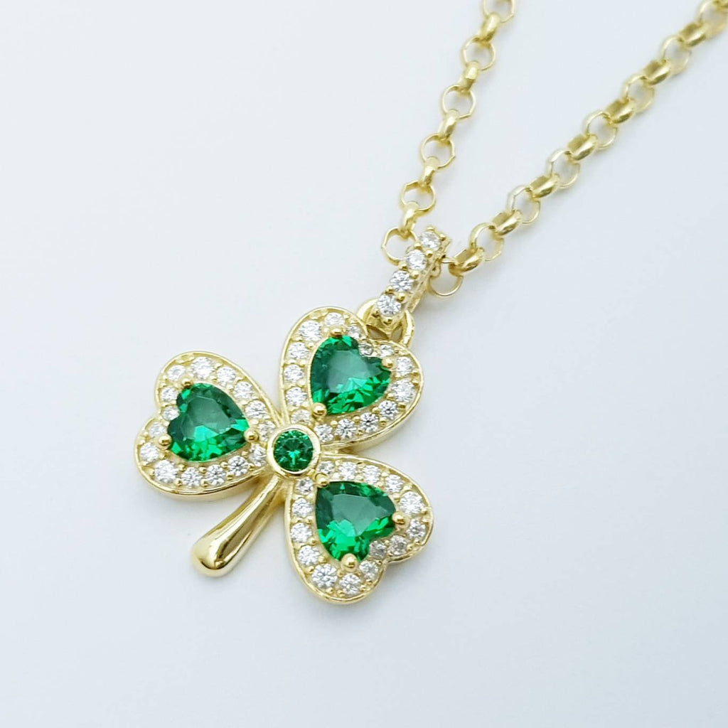 Sterling Silver Shamrock pendant, gold plated shamrock necklace