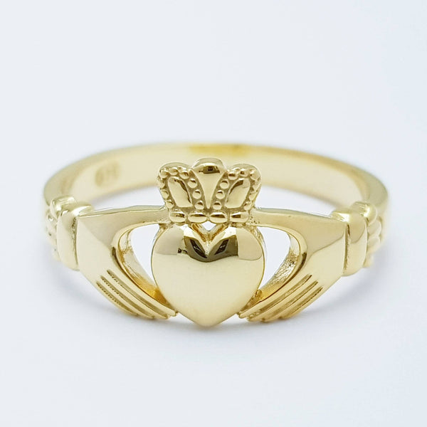 Dainty silver claddagh ring, Irish gold plated claddagh ring from Galway Ireland
