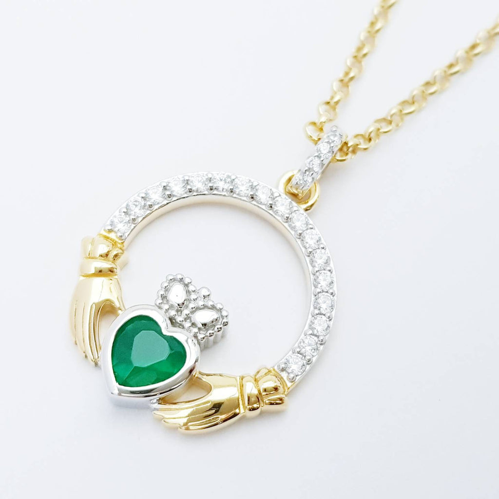Green Claddagh pendant, claddagh necklace, silver & gold claddagh pendant