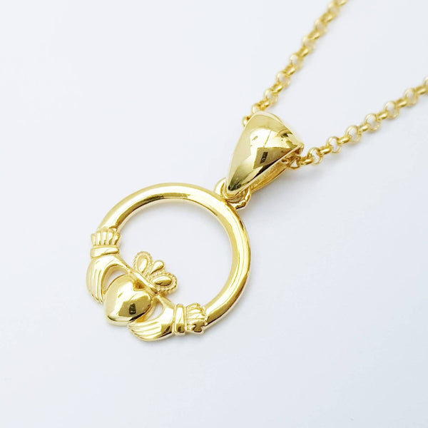 Small gold plated Claddagh pendant, Irish claddagh necklace from Galway, Ireland, Sterling Silver claddagh necklace