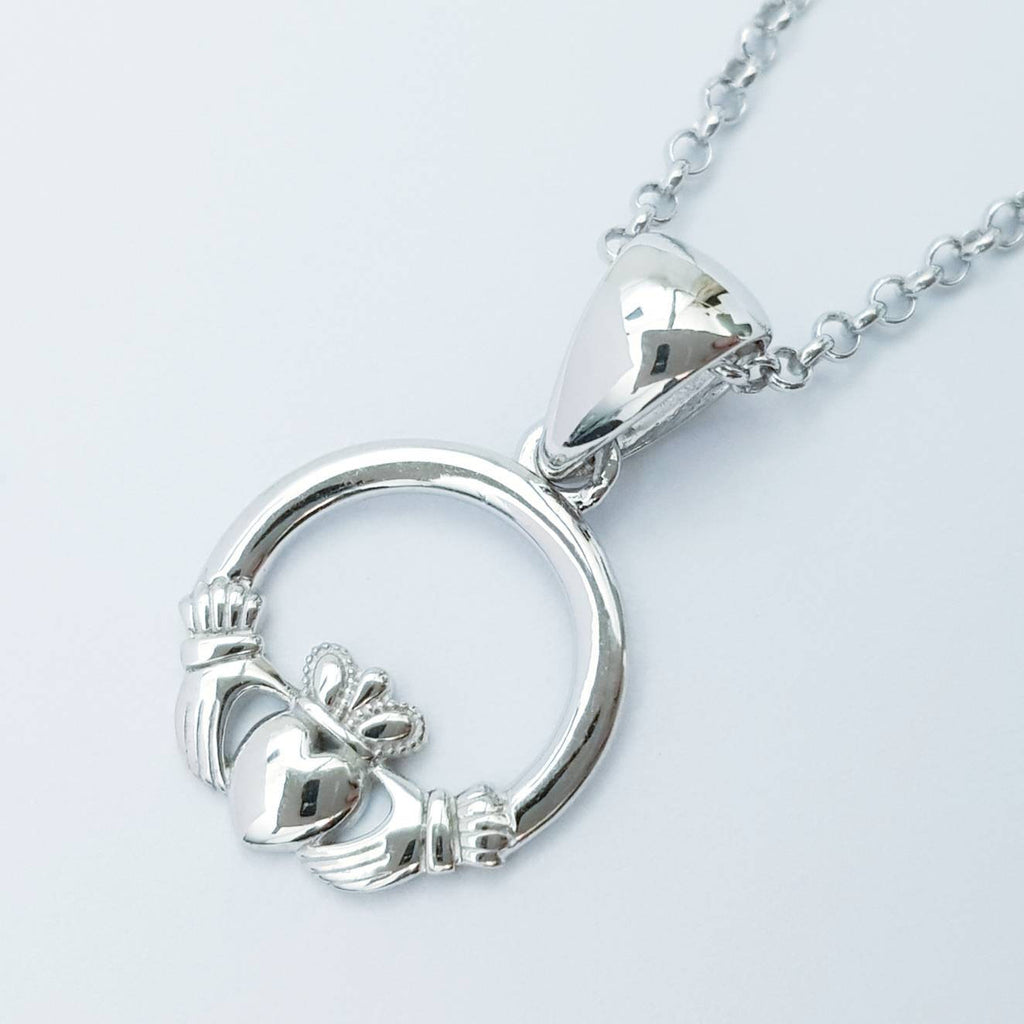 Small Claddagh pendant, Irish claddagh necklace from Galway, Ireland, Sterling Silver claddagh necklace