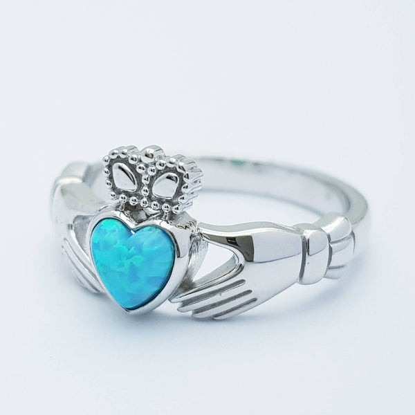 Sterling Silver Claddagh ring set with opal stone, October birthstone