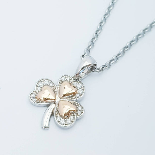 Sterling Silver Shamrock pendant, rose gold plated shamrock necklace