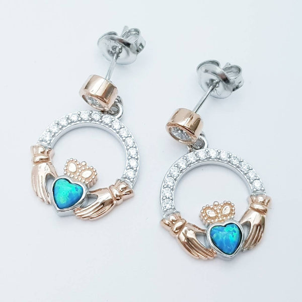 Opal claddagh Earrings, Silver and rose gold Claddagh Earrings,