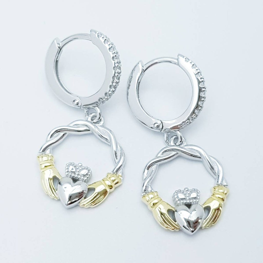 Silver hoop Claddagh Earrings, braided Claddagh Earrings, silver and Gold Claddagh drop Earrings