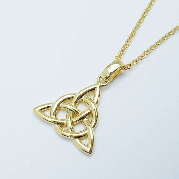 Celtic knot pendant, yellow gold plated Celtic triquetra necklace, Celtic necklace made in Ireland
