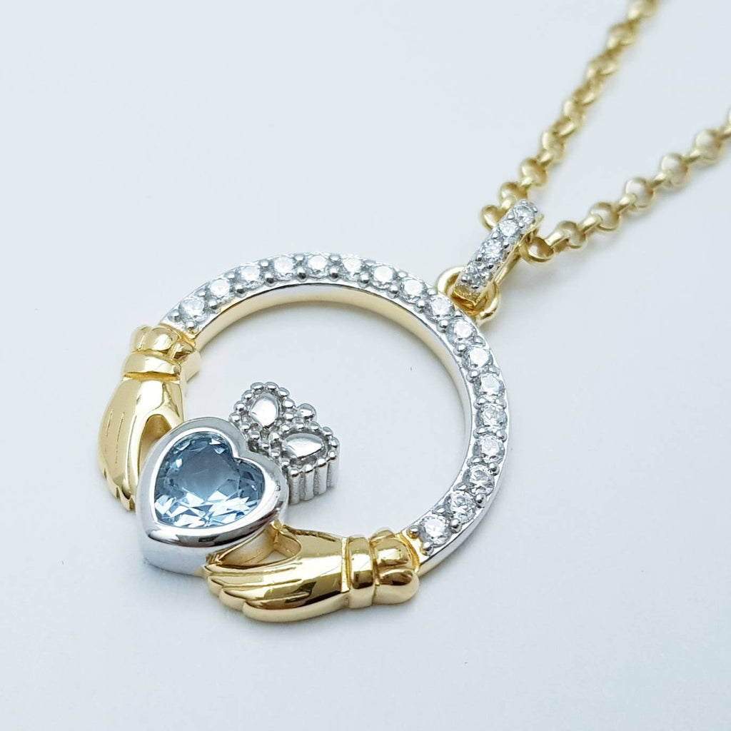 Aquamarine blue Claddagh pendant, Irish claddagh necklace from Galway, Ireland, silver and rose gold claddagh pendant