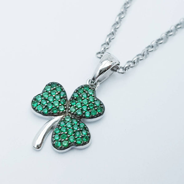 Sterling Silver Shamrock pendant, green stone set shamrock necklace