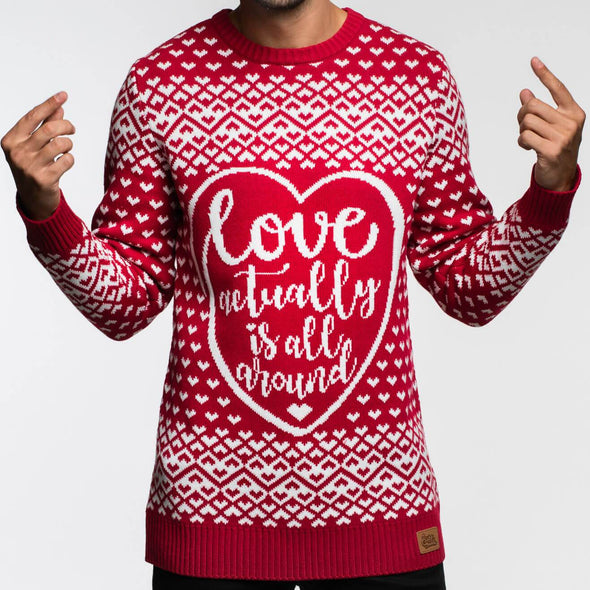 Love is All Around (Herr) Christmas Sweater Mens SillySanta