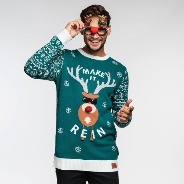 Make It Rein Grön (Herr) Christmas Sweater Mens SillySanta