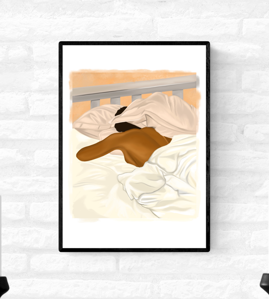 Framed wall art print of a black woman sleeping in bed with her head partially hidden by her pillow