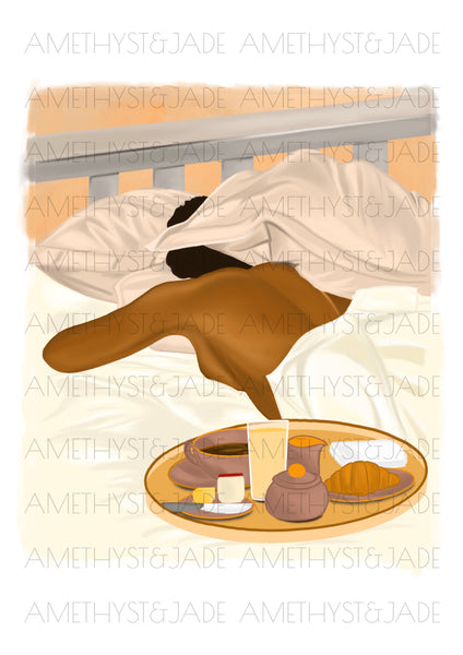 wall art print of a black woman sleeping in bed with her head partially hidden by her pillow and a breakfast tray of food