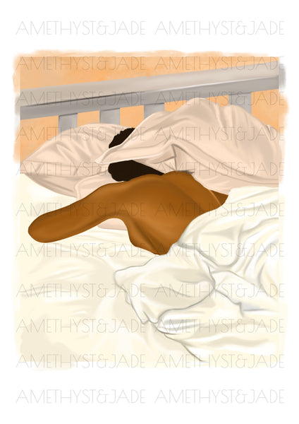 wall art print of a black woman sleeping in bed with her head partially hidden by her pillow
