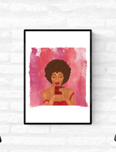 Wall Art Print Black Woman With Afro Looking In The Mirror And Applying Red Lipstick