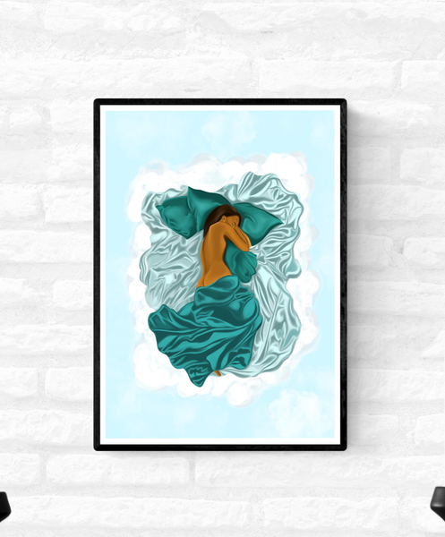 Framed artwork of a black woman sleeping in her cloud bed and she is half covered by green satin sheets
