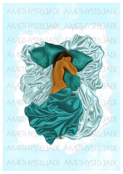 artwork of a black woman sleeping in her cloud bed and she is half covered by green satin sheets