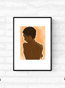 Framed art illustration of the nude back of a black woman with short natural hair