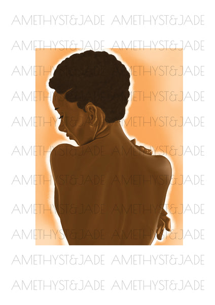 art illustration of the nude back of a black woman with short natural hair