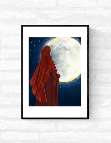 Framed wall art print of a black, Muslim woman wearing a red niqab, standing in front of the moon