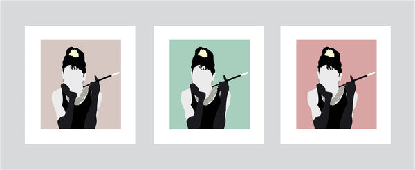 Minimalist art illustration of Holly Golightly from Breakfast At Tiffany's holding a cigarette with different colour options