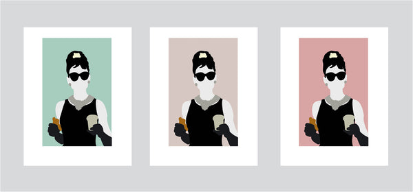 Wall art illustration print of Holly Golightly from the movie Breakfast At Tiffany's eating breakfast in front of Tiffany's store with different colour options
