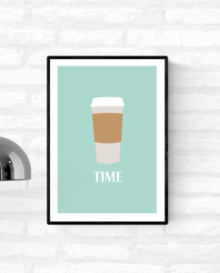 "Framed kitchen art illustration of a takeaway coffee cup with the word ""time"" written under it"