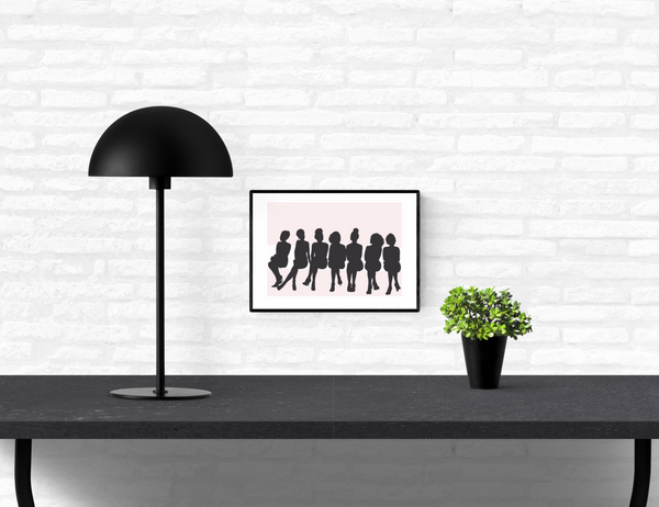 Wall art print of natural afro hair black women sitting in a row at a fashion show