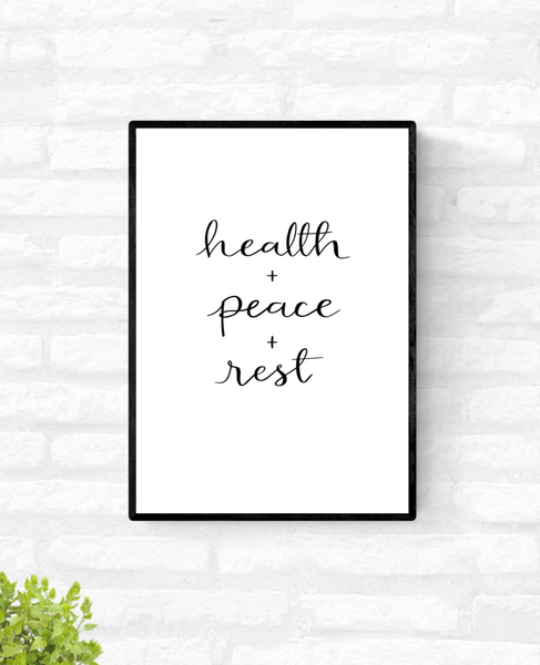 "Home décor wall print with the words, ""health + peace + rest"""