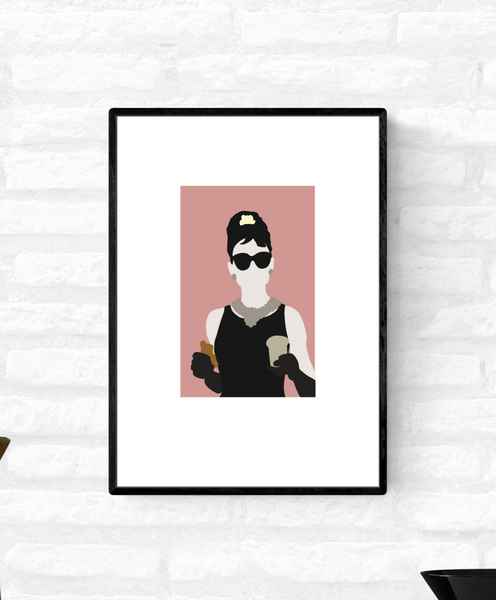 Framed wall art illustration print of Holly Golightly from the movie Breakfast At Tiffany's eating breakfast in front of Tiffany's store