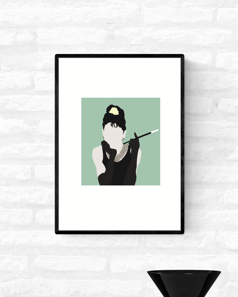 Framed minimalist illustration of Holly Golightly from Breakfast At Tiffany's holding a cigarette