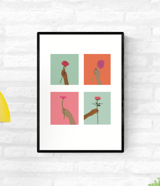 Framed illustration of four hands holding flowers