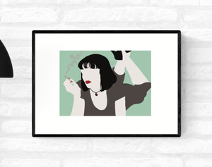 Framed wall art illustration of Mia Wallace from Quentin Tarantino's Pulp Fiction