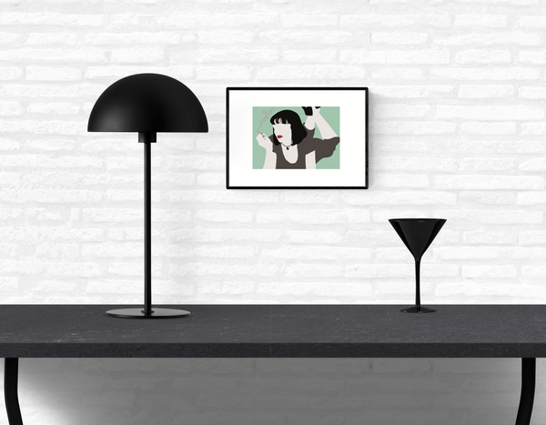 Wall art illustration print of Mia Wallace from Quentin Tarantino's classic movie Pulp Fiction framed and mounted on a home's interior white brick wall