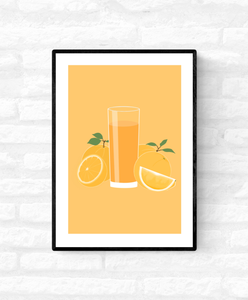 Wall art illustration print of a tall cold glass of orange juice with orange fruits surrounding the glass