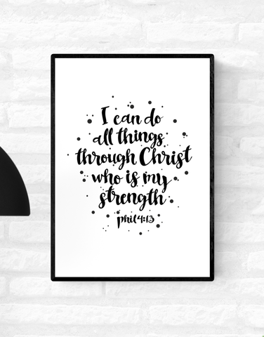 Framed wall quote scripture Philippians 4:13 verse from the Holy Bible