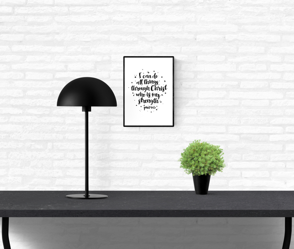 Quote wall print of Holy Bible scripture verse Philippians 4:13 mounted on an interior white brick wall