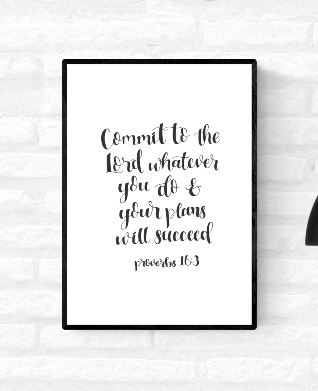 Framed wall quote scripture Proverbs 16:3 verse from the Holy Bible