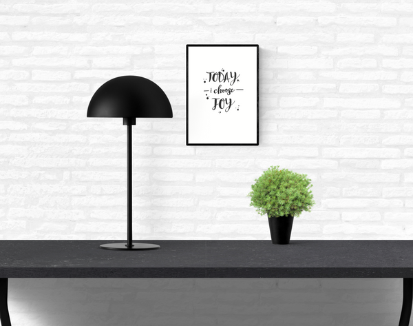 "Interior home white brick wall with a framed and mounted wall quote typography print with the words, ""today I choose joy"""