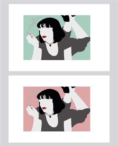 wall art illustration of Mia Wallace from Quentin Tarantino's Pulp Fiction as different colour options