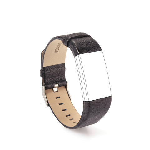 Parallel Halo Leather Replacement Bands for Fitbit Charge 2, Large Small(Black)