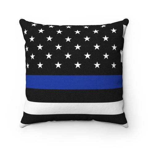 Thin Blue Line American Flag Spun Polyester Square Pillow
