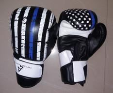 Thin Blue Line Leather Boxing Gloves