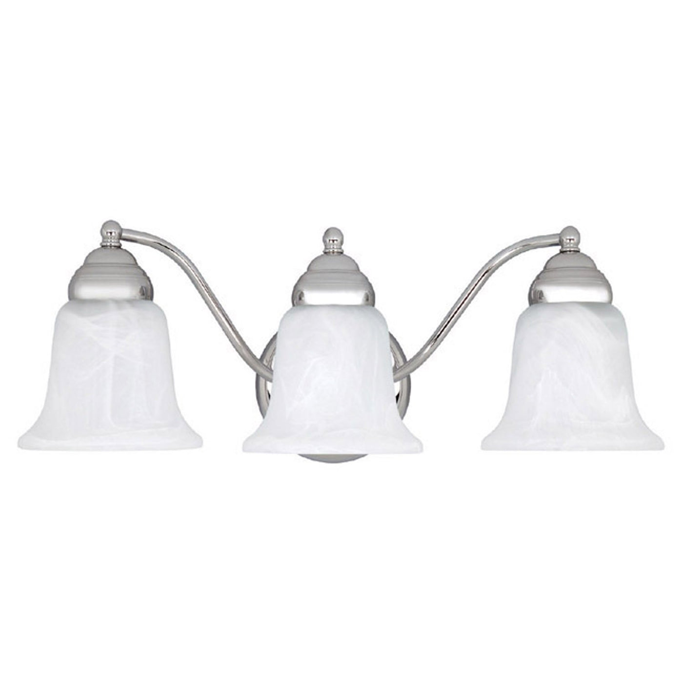 3 Light Vanity Fixture with Chrome Finish and Faux White Alabaster ...
