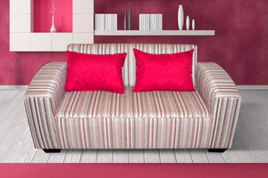Two Seater Couch, Shirley Basics Striped Red