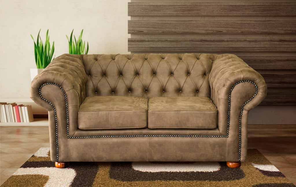 Two Seater Couch, Chestefield Choc Leather