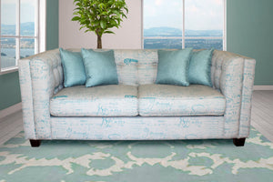Two Seater Couch, Cutler Grey & Blue