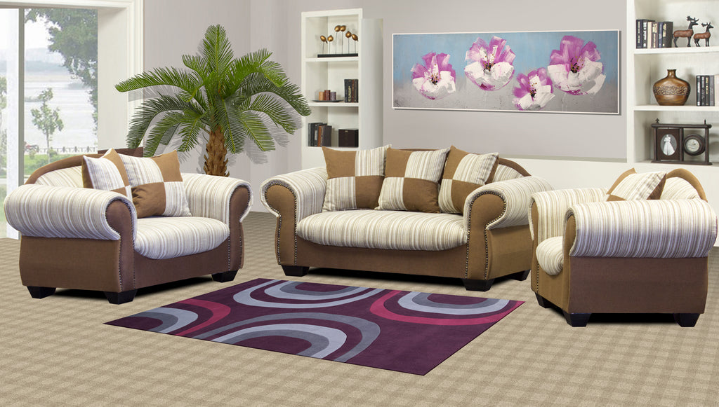 Brown & White three piece couch suite