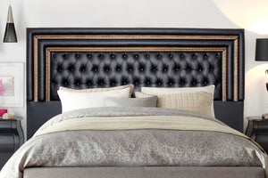 Headboard, Diamond Button Headboard Napo Black